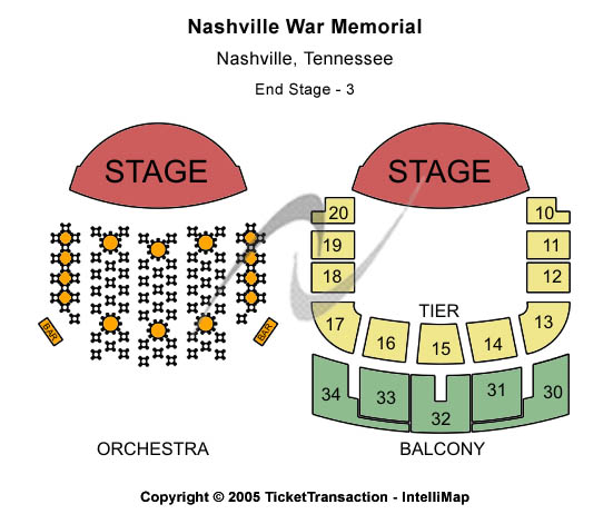 Nashville War Memorial Seating Map