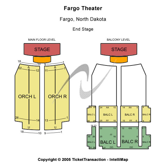 Fargo Theatre Seating Map