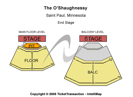 The O'Shaughnessy Seating Chart