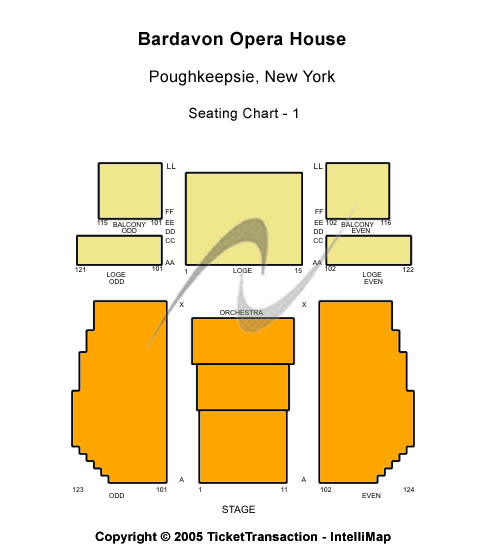 Bardavon Opera House Seating Map