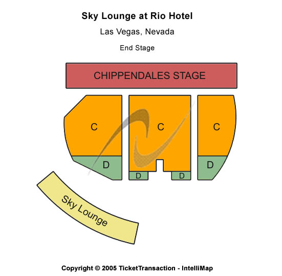 Chippendales Theatre - Rio Hotel Seating Map