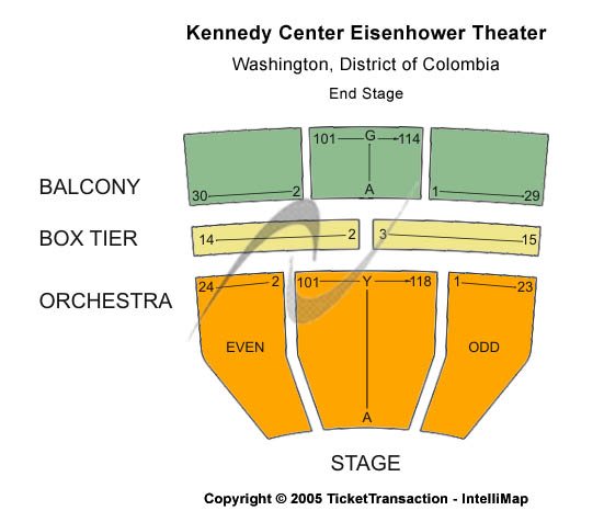 Kennedy Center Eisenhower Theater Seating Map