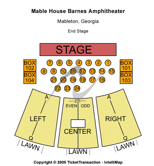 Mable House Amphitheatre Seating Map