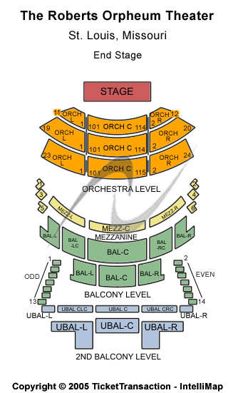 The Roberts Orpheum Theater Seating Chart