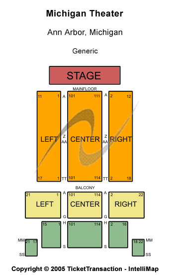 Michigan Theater - Ann Arbor Seating Map