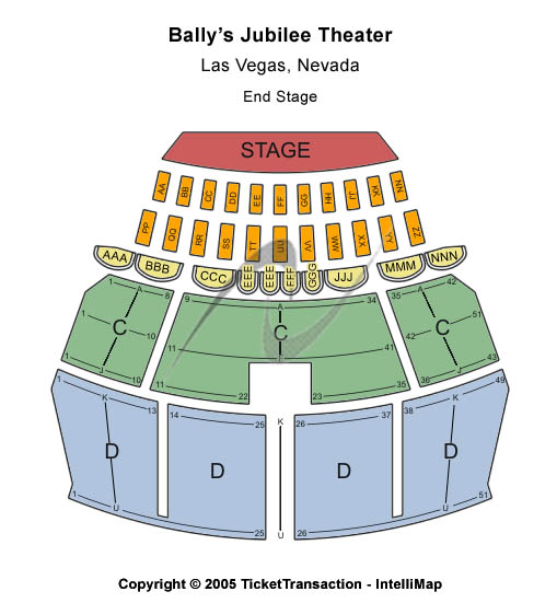 Jubilee Theater - Bally's Seating Map