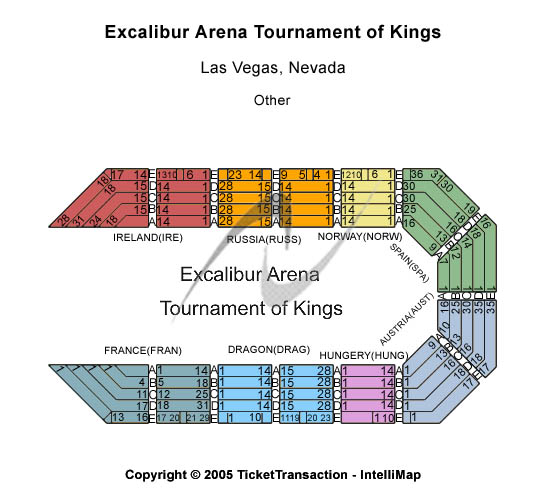 Excalibur Arena - Excalibur Hotel & Casino Seating Map