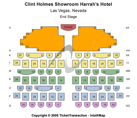 Harrah's Showroom Seating Chart
