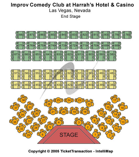 Improv Comedy Club -  Harrah's Hotel Seating Map
