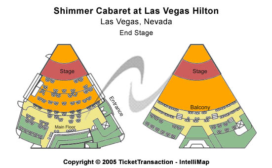 Shimmer Cabaret - Las Vegas Hilton Seating Map