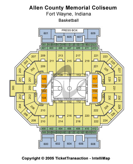 Allen County Memorial Coliseum Seating Map