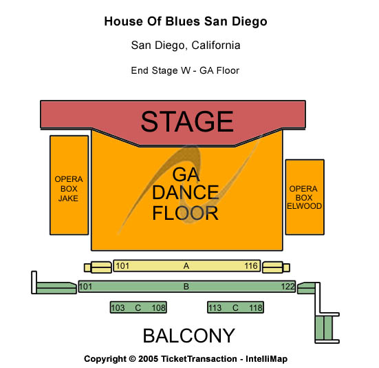 House Of Blues - San Diego Seating Map