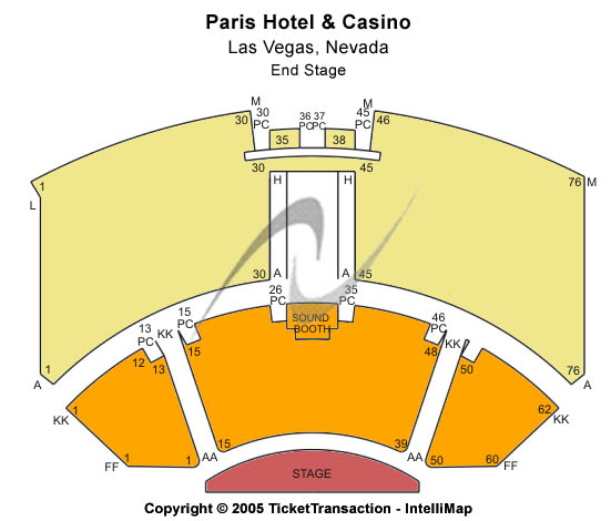 Anthony Cools Experience - Paris Hotel & Casino Seating Map