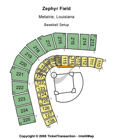 Zephyr Field Seating Map