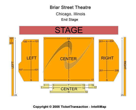 Blue man group tour tickets seating chart briar street theatre end stage - Blue man group box office ...