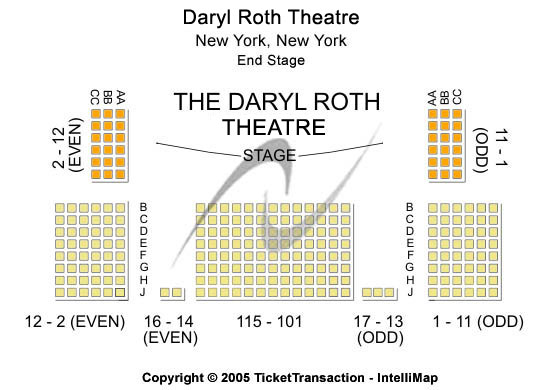 Daryl Roth Theatre Seating Map