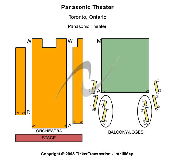 Panasonic Theatre Seating Map