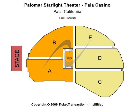 Pala Casino - Palomar Starlight Theater Seating Map