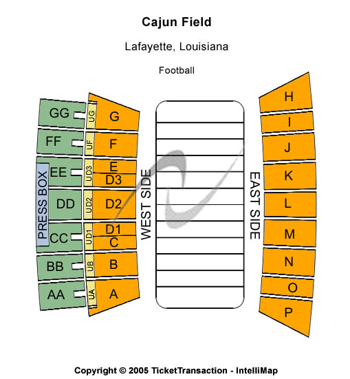 Cajun Field Seating Chart