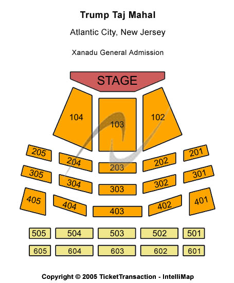 Trump Taj Mahal - Xanadu Showroom Seating Map