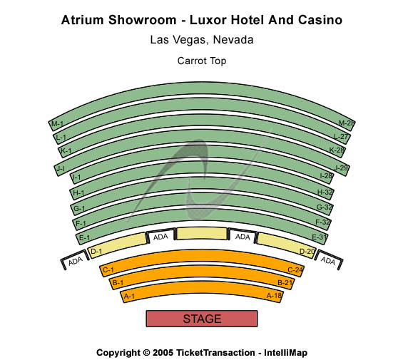Atrium Showroom - Luxor Hotel Seating Chart
