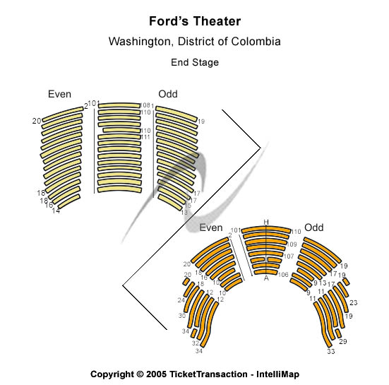Ford's Theatre Seating Map