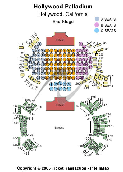 Hollywood Palladium Seating Map