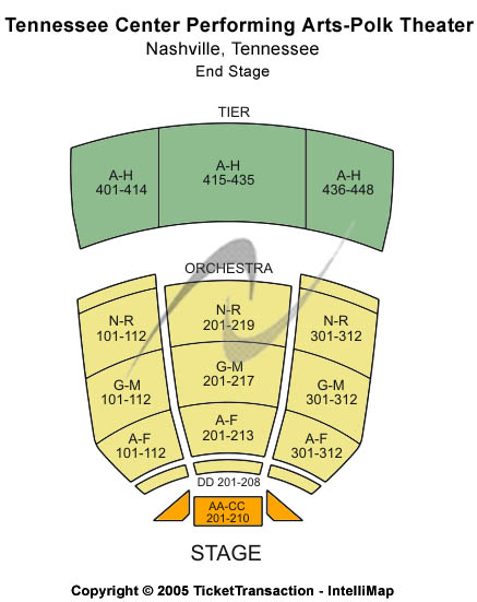 Tennessee Performing Arts Center - James K Polk Theater Seating Map