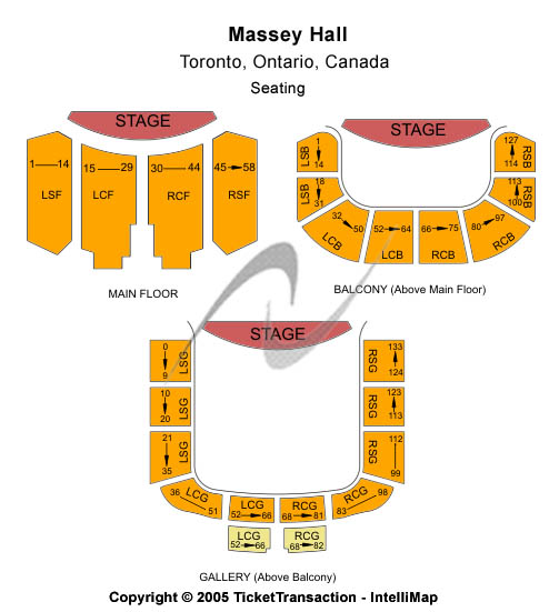 Massey Hall Seating Map