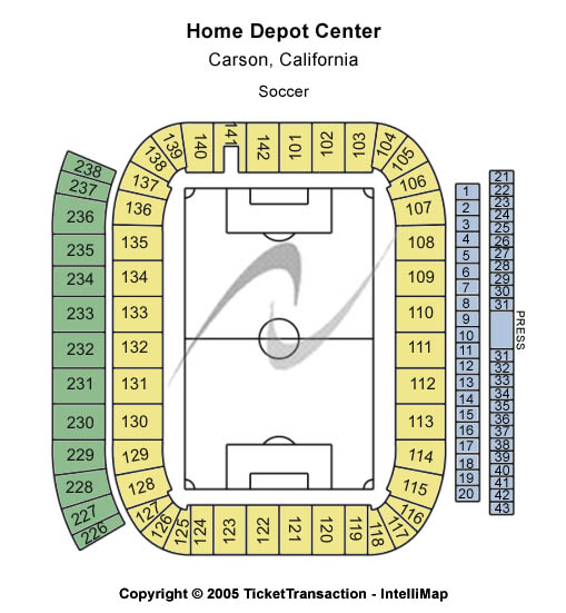 Home Depot Center Seating Map