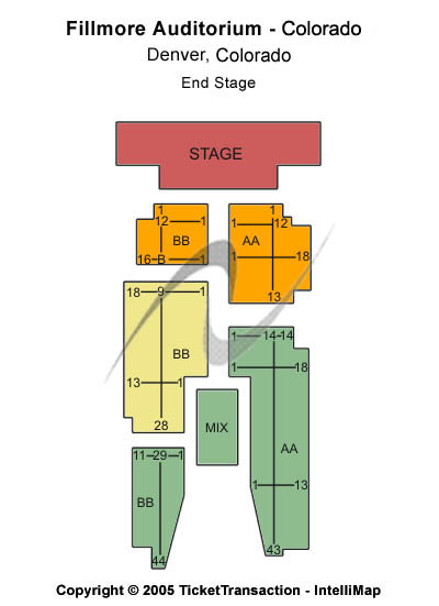 Fillmore Auditorium - Colorado Seating Map
