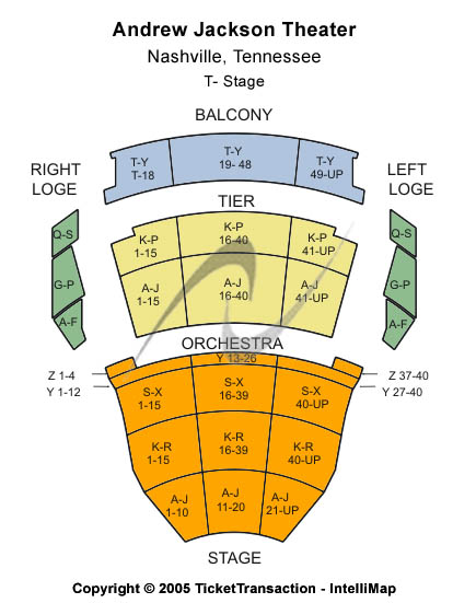Tennessee Performing Arts Center - Andrew Jackson Hall Seating Chart: T-Stage