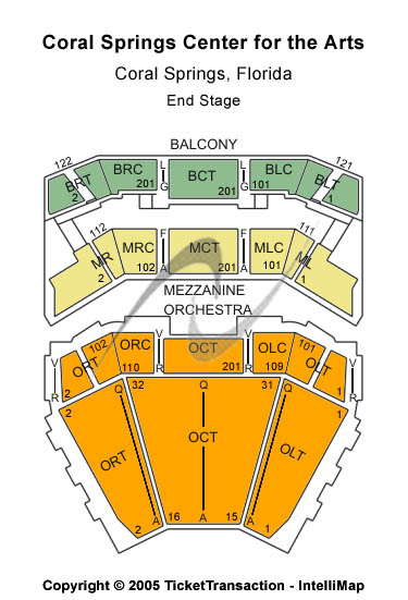 Coral Springs Center For The Arts Seating Map