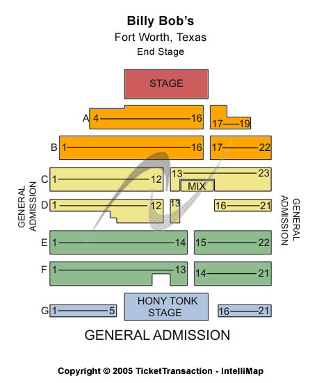Billy Bobs Seating Map