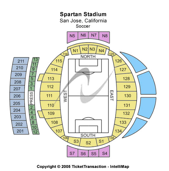 Spartan Stadium-ca Seating Map