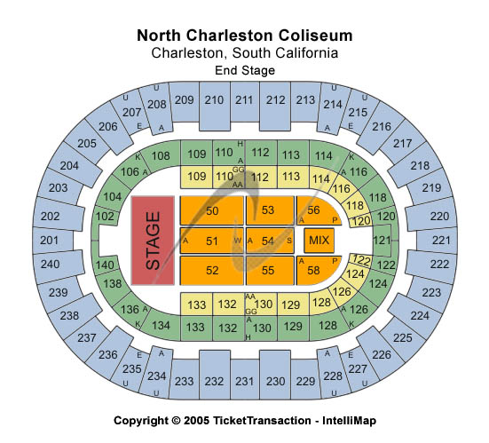 North Charleston Coliseum Seating Map
