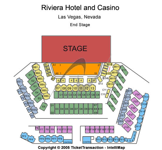 Riviera Hotel & Casino Seating Map