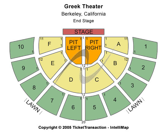 Greek Theatre - U.C. Berkeley Seating Map