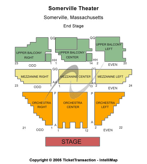 Somerville Theatre Seating Map