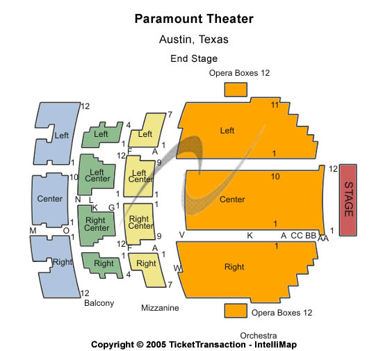 Paramount Theatre-tx Seating Map