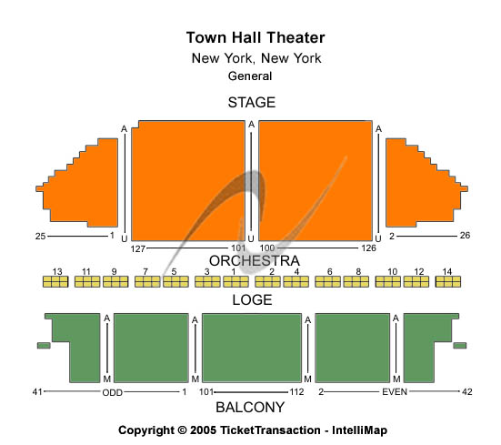 Town Hall Theatre-ny Seating Map