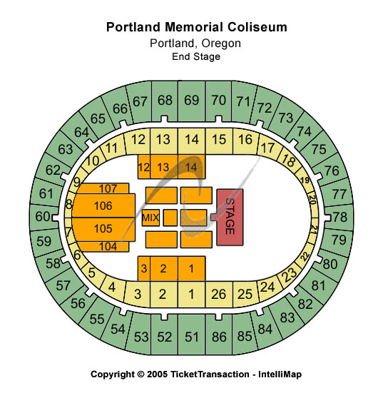 Portland Memorial Coliseum Seating Map