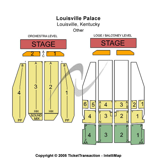 Louisville Palace Seating Map