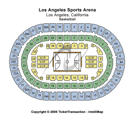 Los Angeles Sports Arena Seating Chart