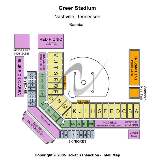 Greer Stadium Seating Chart