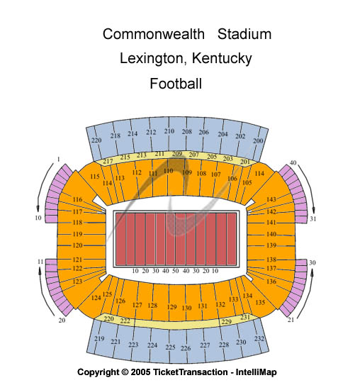 Commonwealth Stadium - KY Seating Chart