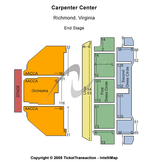 Carpenter Theatre at Richmond CenterStage Seating Chart