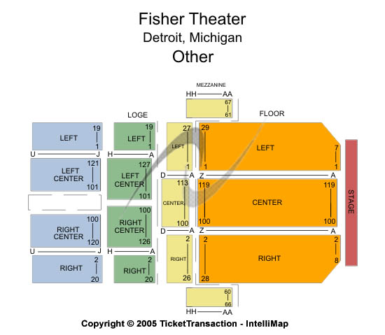 Fisher Theatre-mi Seating Map