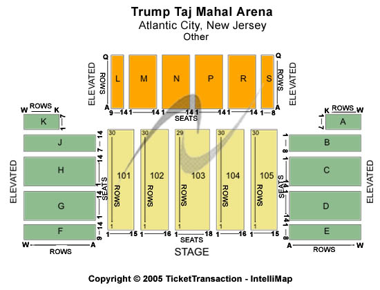 Trump Taj Mahal - The Arena Seating Map