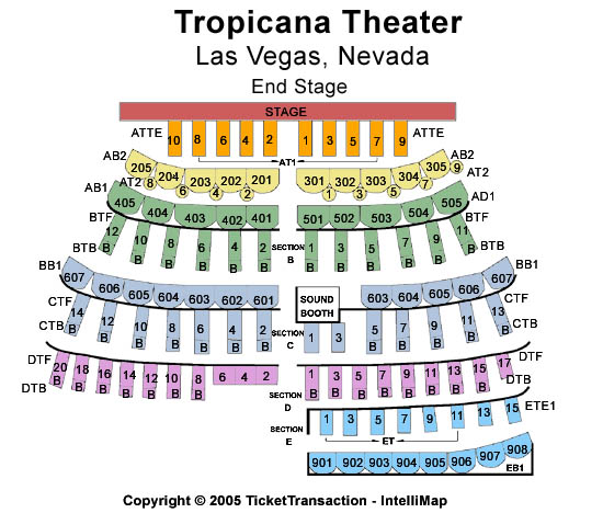 Tropicana Resort & Casino Seating Map